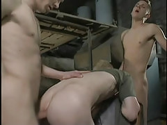 Dirty twinks fuck bareback in three-way